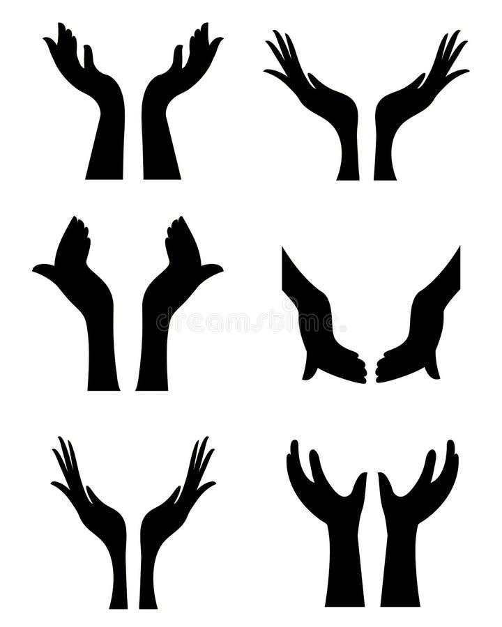 Abra las manos stock de ilustración