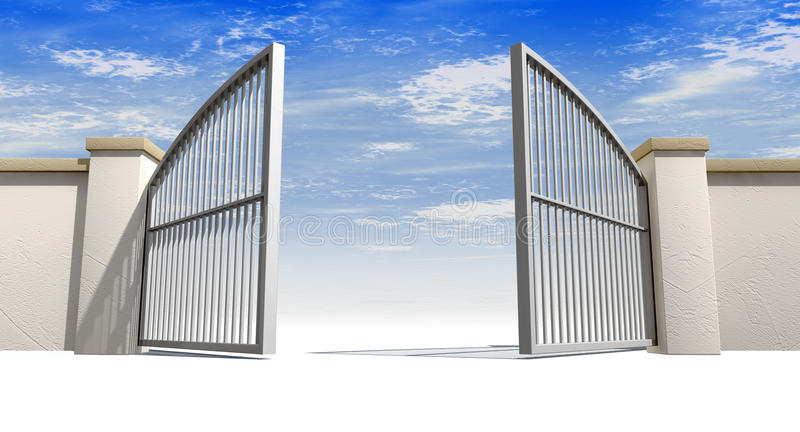 Abra las puertas y la pared libre illustration