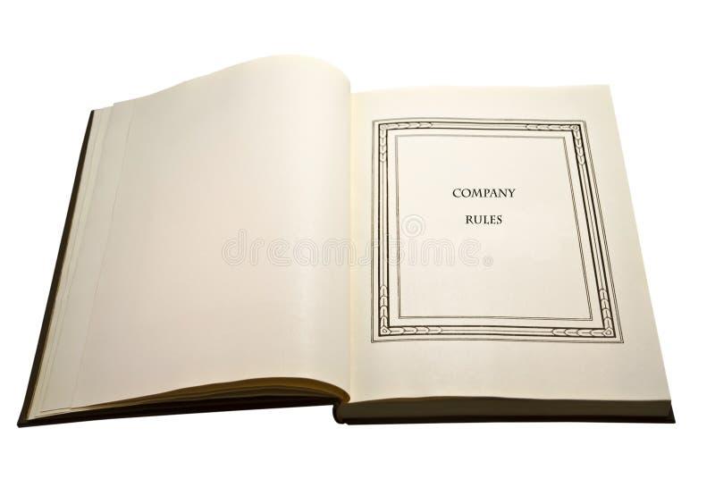 Abra las reglas del libro/de compañía foto de archivo