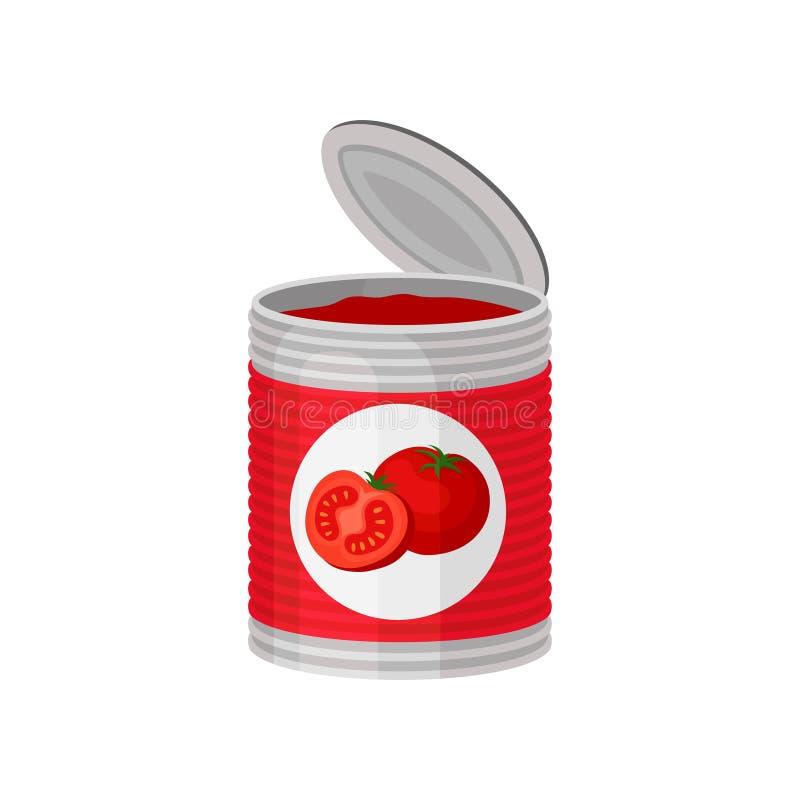 Abra a lata de alumínio da sopa ou da pasta deliciosa do tomate Ilustração colorida do vetor no estilo liso isolada no branco ilustração do vetor