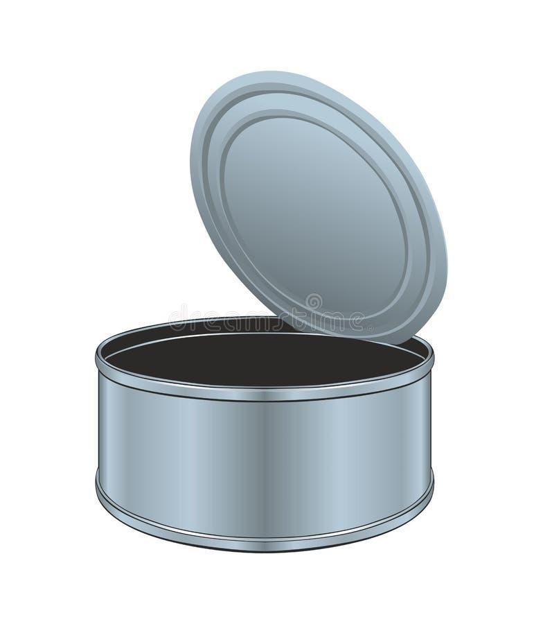 Abra a lata de lata vazia ilustração stock