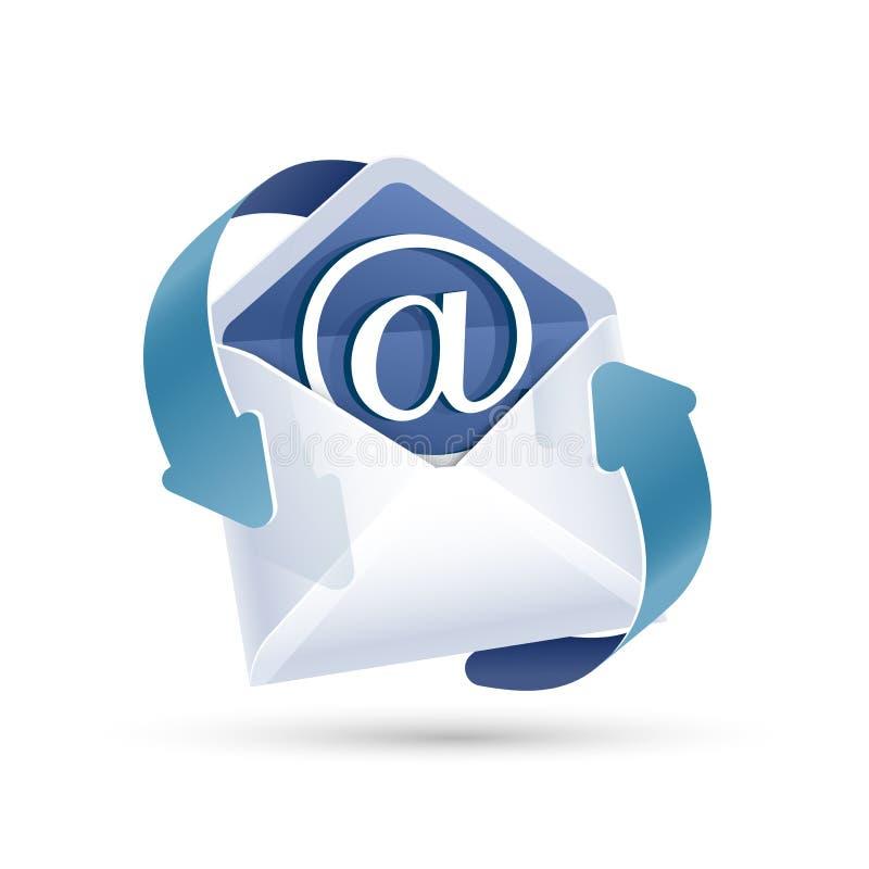 Abra a letra do email Vetor ilustração stock