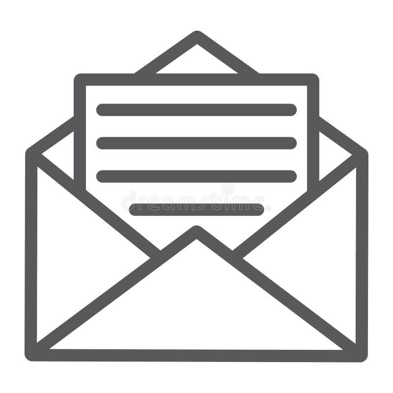 Abra a linha ícone do correio, o envelope e a letra, email ilustração stock