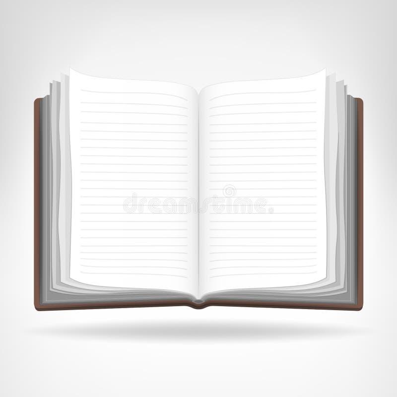 Abra livro vazio o objeto isolado ilustração do vetor