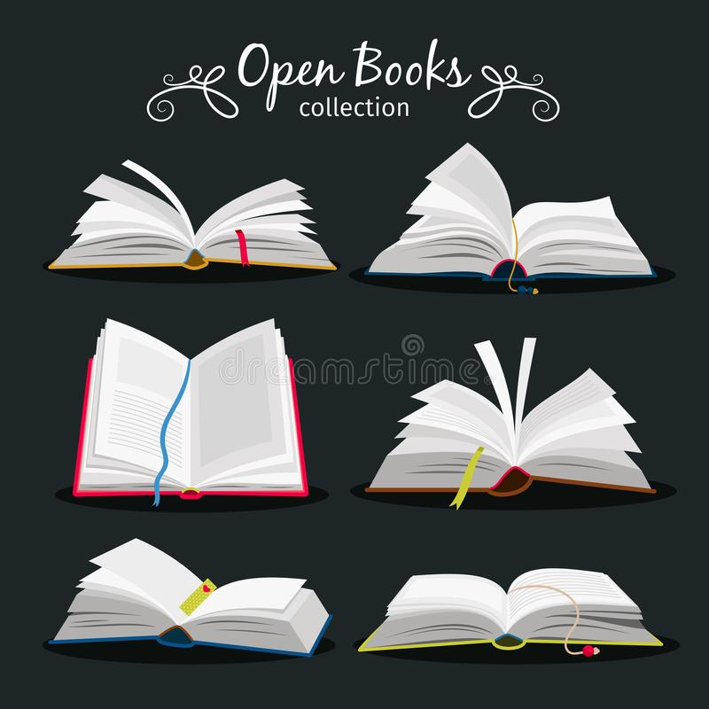 Abra livros O livro aberto novo ajustou-se com o marcador entre páginas para a enciclopédia e ícones do caderno, do dicionário e  ilustração stock