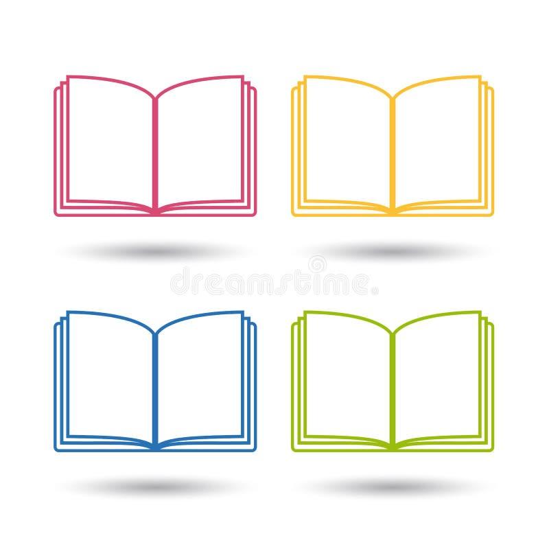 Abra los iconos coloridos y Editable del libro - del vector - aislado en blanco libre illustration