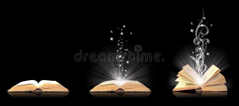 Abra a mágica do livro no preto ilustração royalty free