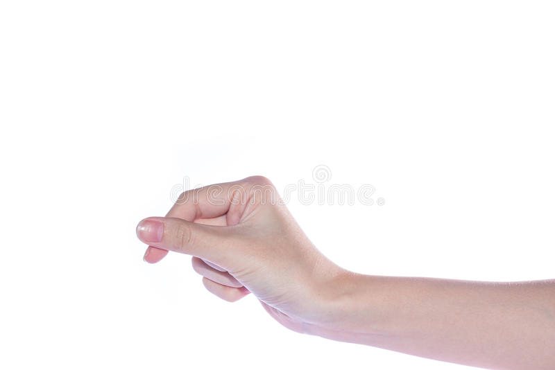 Abra a mão da mulher no fundo branco foto de stock royalty free