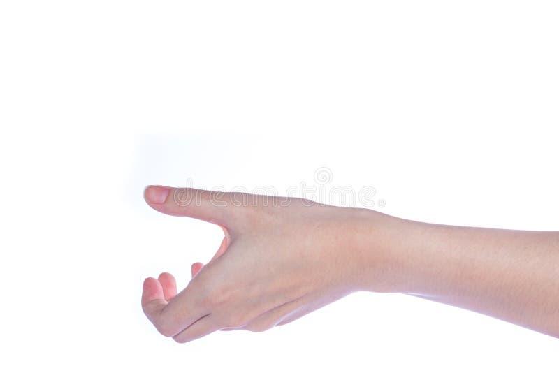Abra a mão da mulher no fundo branco fotos de stock royalty free