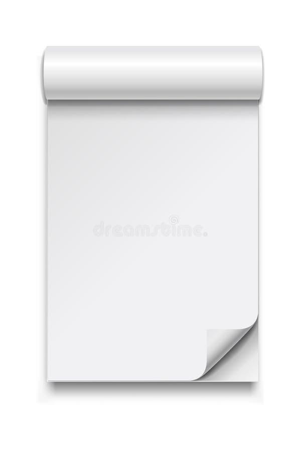 Abra o álbum ou o compartimento vazio com sombra de canto e macia ondulada ilustração stock