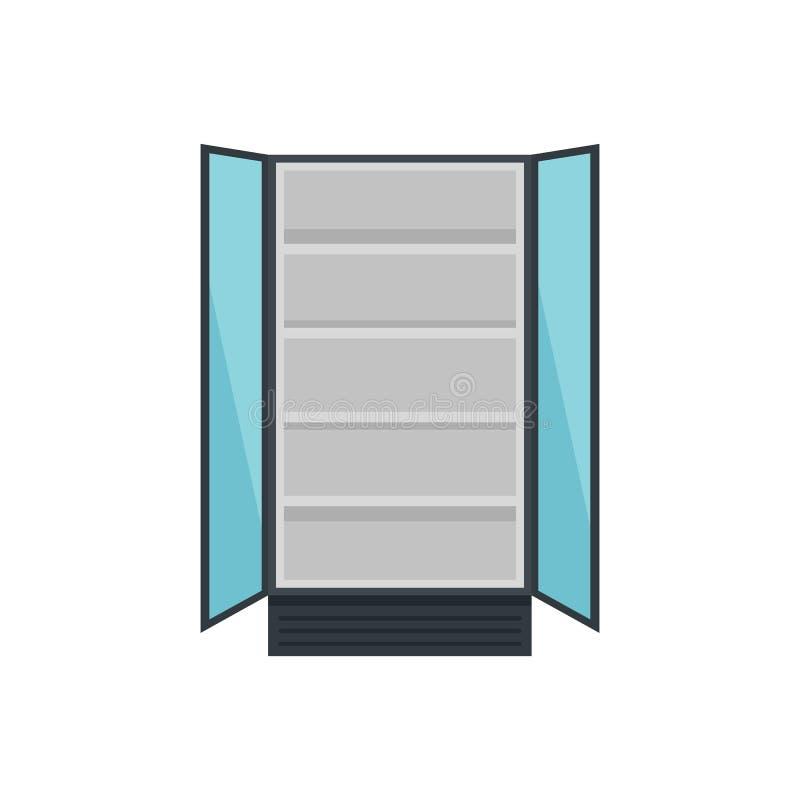 Abra o ícone comercial do refrigerador, estilo liso ilustração royalty free