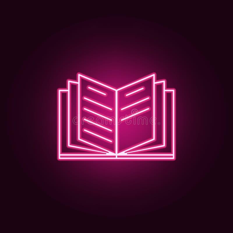 Abra o ícone do livro Elementos dos livros e dos compartimentos nos ícones de néon do estilo Ícone simples para Web site, design  ilustração stock