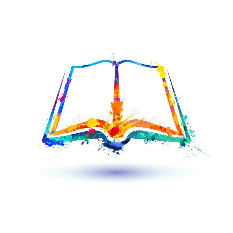 Abra o ícone do livro Pintura do respingo do vetor ilustração do vetor