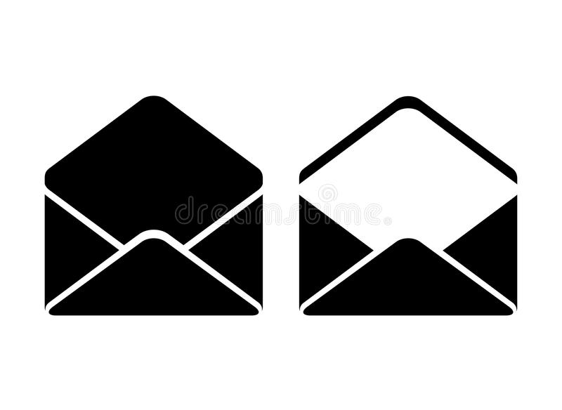 Abra o ícone do vetor do envelope ilustração royalty free