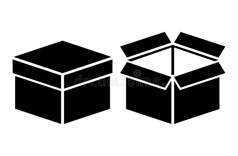 Abra o ícone fechado da caixa ilustração do vetor