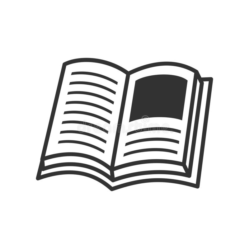 Abra o ícone liso do esboço do livro no branco ilustração royalty free