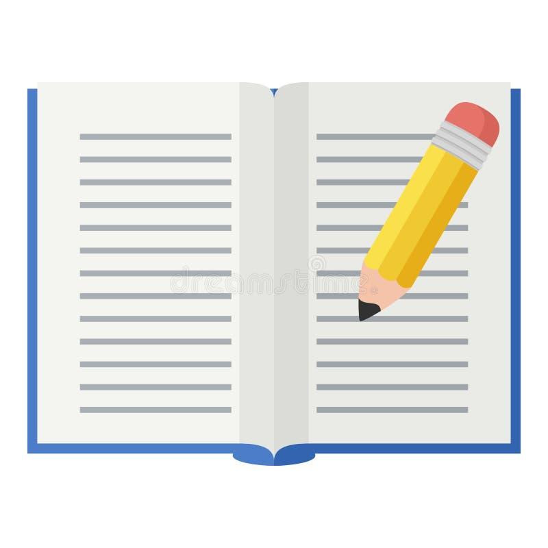 Abra o ícone liso do livro e do lápis no branco ilustração stock