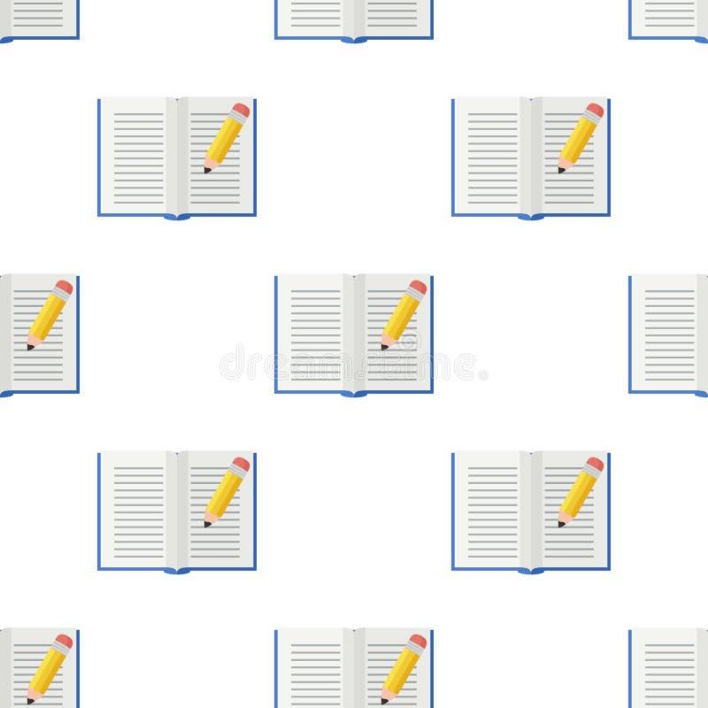 Abra o ícone liso do livro e do lápis sem emenda ilustração royalty free