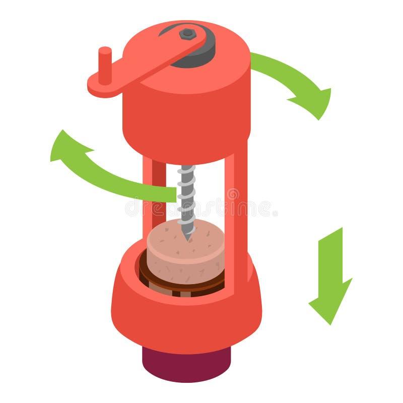 Abra o ícone mecânico do corkscrew da garrafa de vinho, estilo isométrico ilustração stock