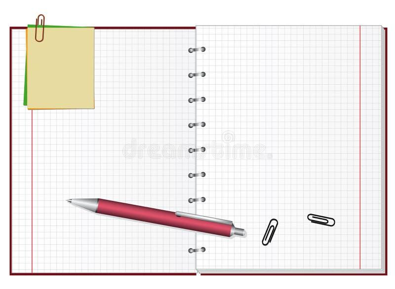 Abra o caderno ilustração royalty free
