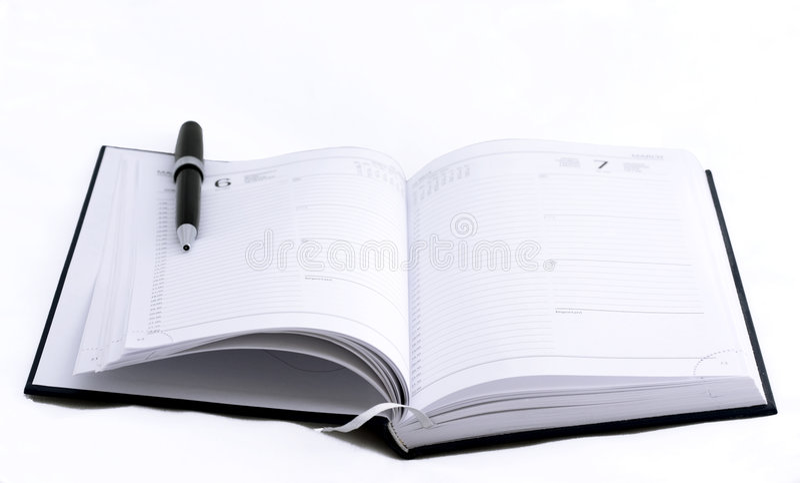 Abra o caderno fotos de stock