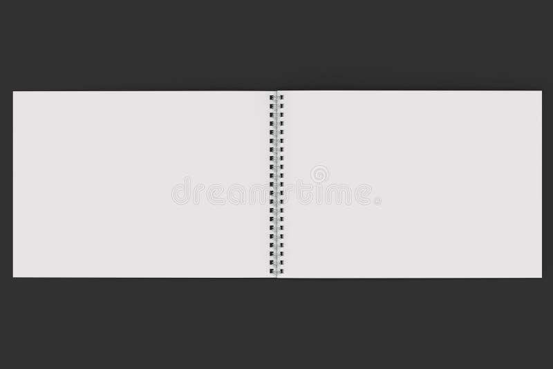 Abra o caderno branco vazio com espiral do metal - limite no fundo preto ilustração royalty free