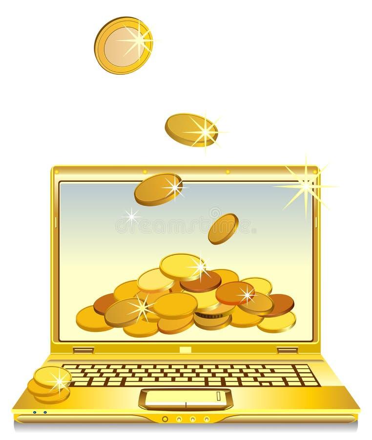 Abra o caderno com as moedas de ouro na tela ilustração do vetor