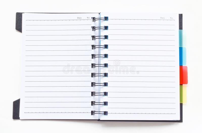 Abra o caderno da pasta de anel fotografia de stock