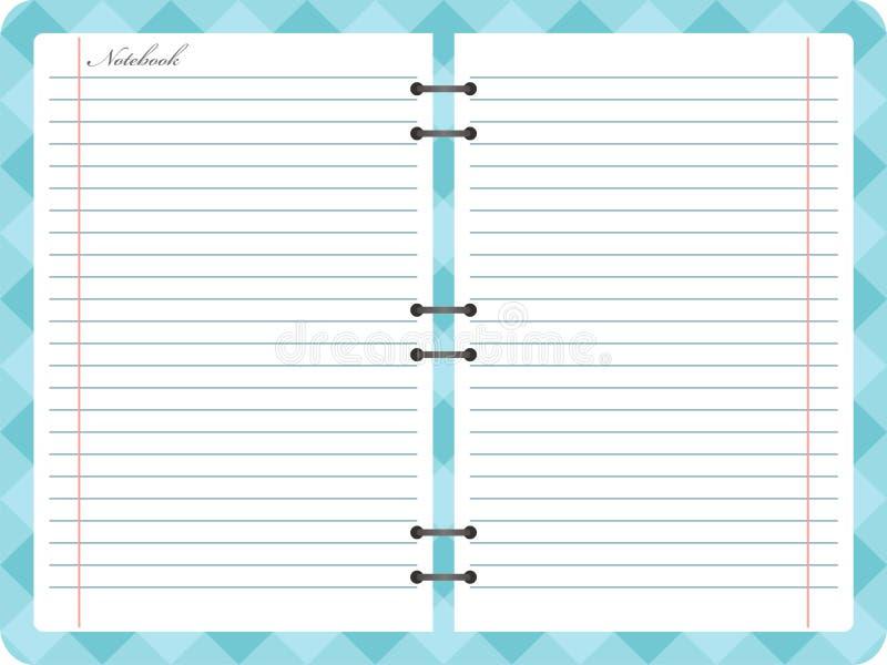 Abra o caderno do bloco de notas com espiral ilustração royalty free