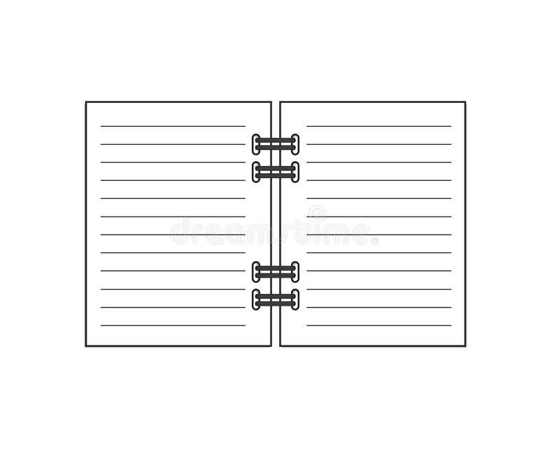 Abra o caderno espiral ilustração stock