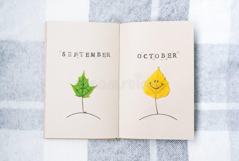 Abra o caderno, smilies do outono Folhas de um vidoeiro e de um bordo outubro setembro foto de stock