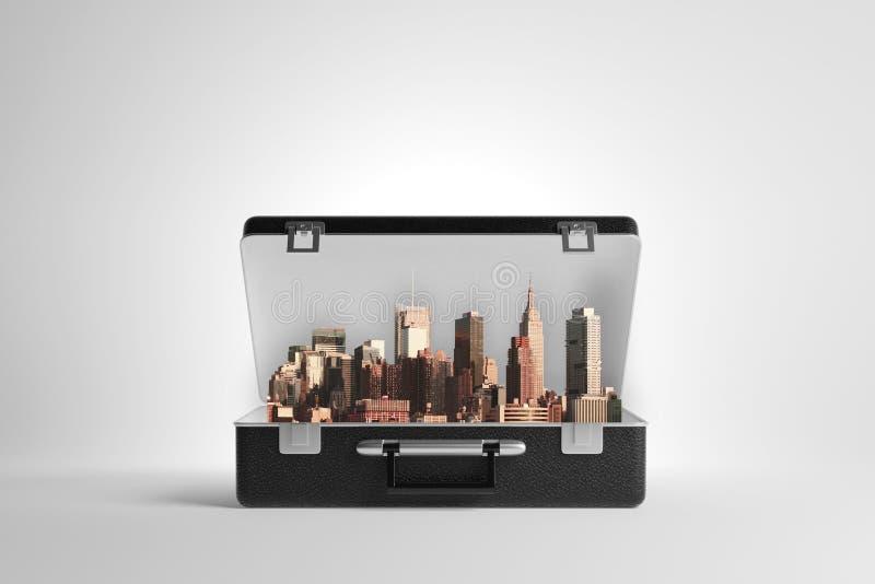 Abra o caso com arquitetura da cidade ilustração stock