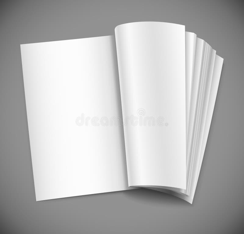 Abra o compartimento com a página branca em branco ilustração royalty free