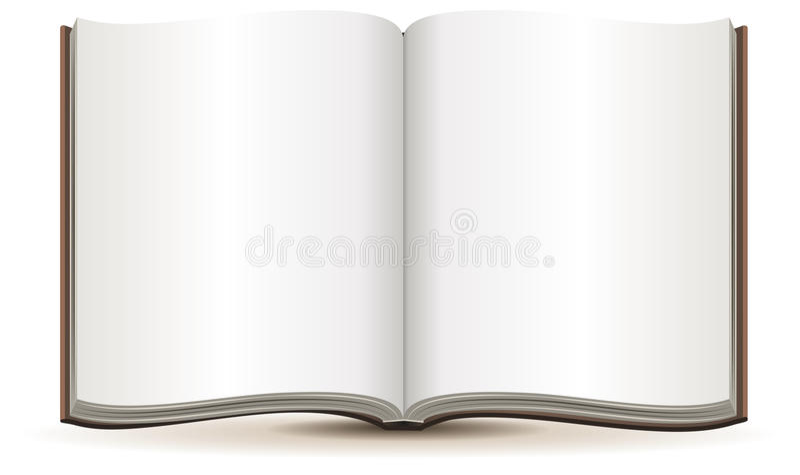 Abra o compartimento com páginas vazias em uma tampa marrom ilustração do vetor