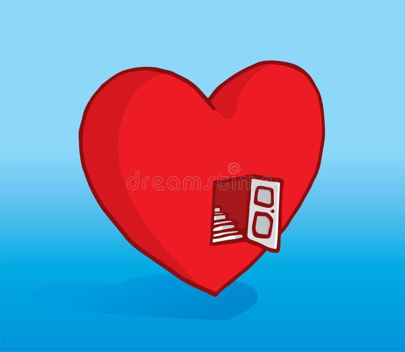 Abra o coração com porta e escadas de entrada ilustração do vetor