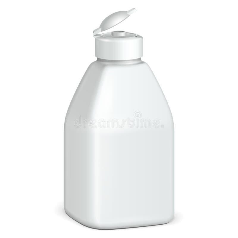 Abra o cosmético ou a garrafa plástica branca do Grayscale da higiene do gel, sabão líquido, loção, creme, champô Ilustração isol ilustração stock
