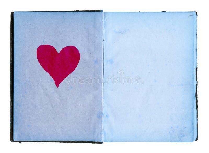 Abra o diário das meninas com páginas azuis e coração vermelho grande imagem de stock