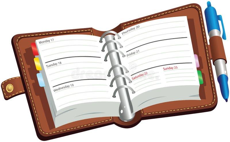 Abra o diário do leatherbound ilustração royalty free