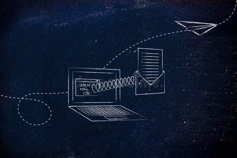 Abra o email que sai de um tela de computador com uma mola fotografia de stock
