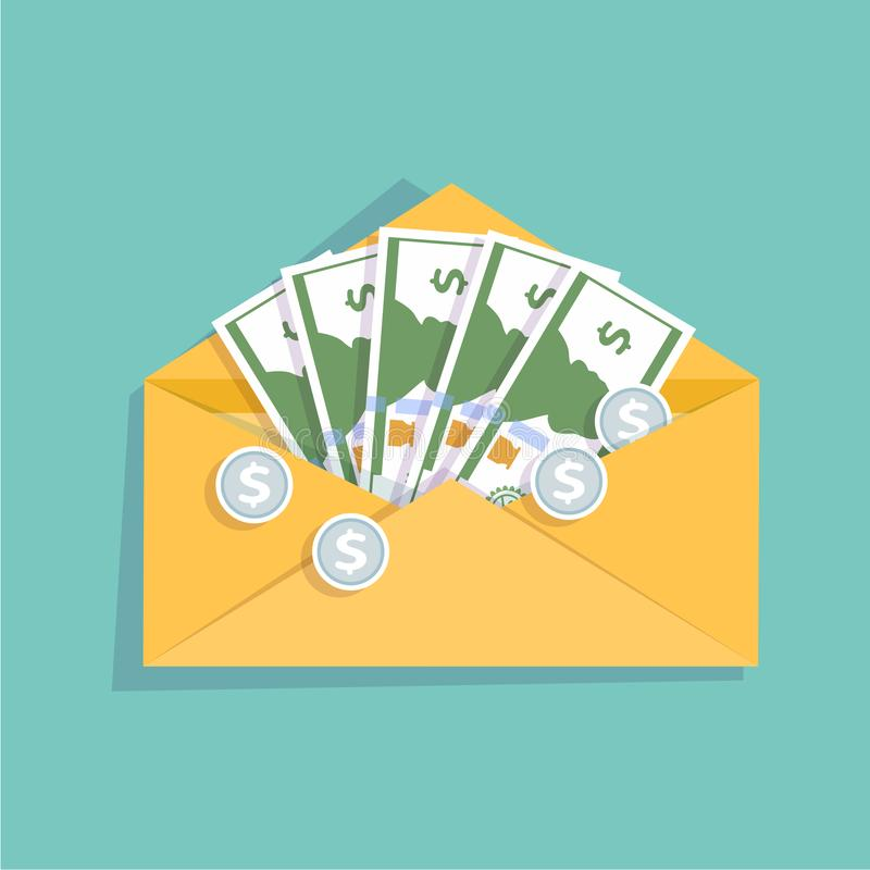 Abra o envelope amarelo com dinheiro do dinheiro e as moedas de prata Remunere, folha de pagamento do dinheiro, renda, avaliação  ilustração stock
