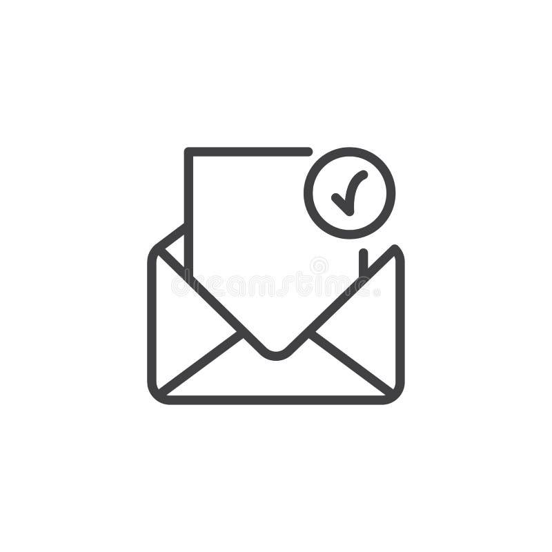 Abra o envelope com ícone verificado do esboço da letra ilustração do vetor