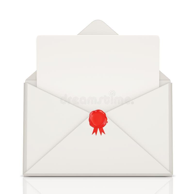 Abra o envelope com cera e anule a letra ilustração stock