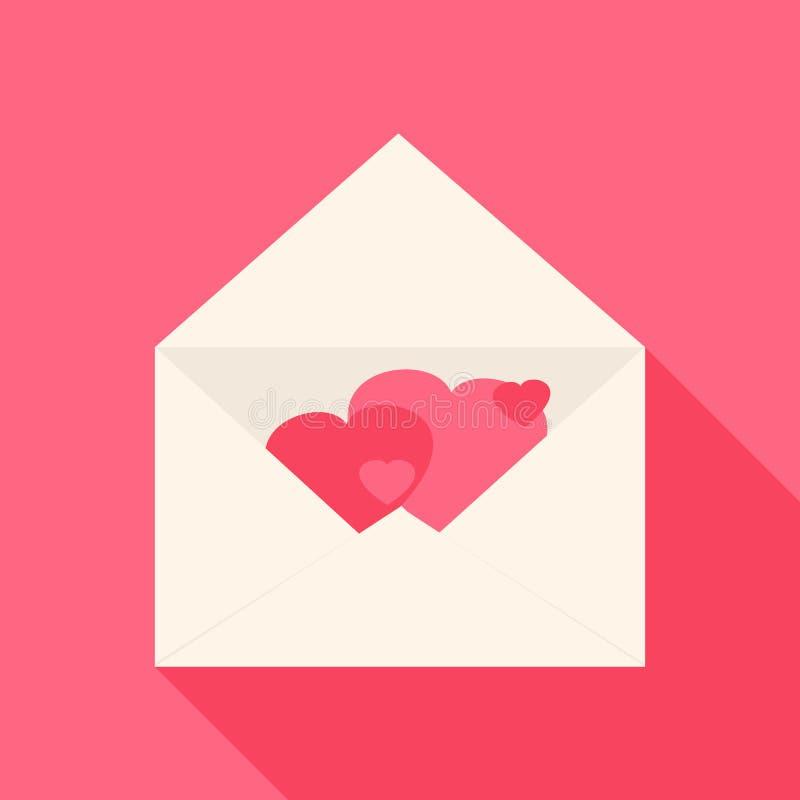 Abra o envelope com corações para dentro ilustração stock