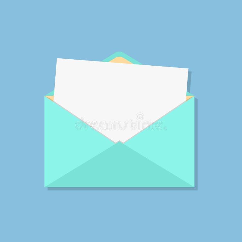 Abra o envelope com folha branca ilustração stock