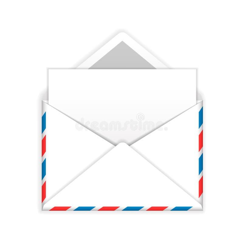 Abra o envelope com a folha de papel vazia o ícone liso ilustração royalty free