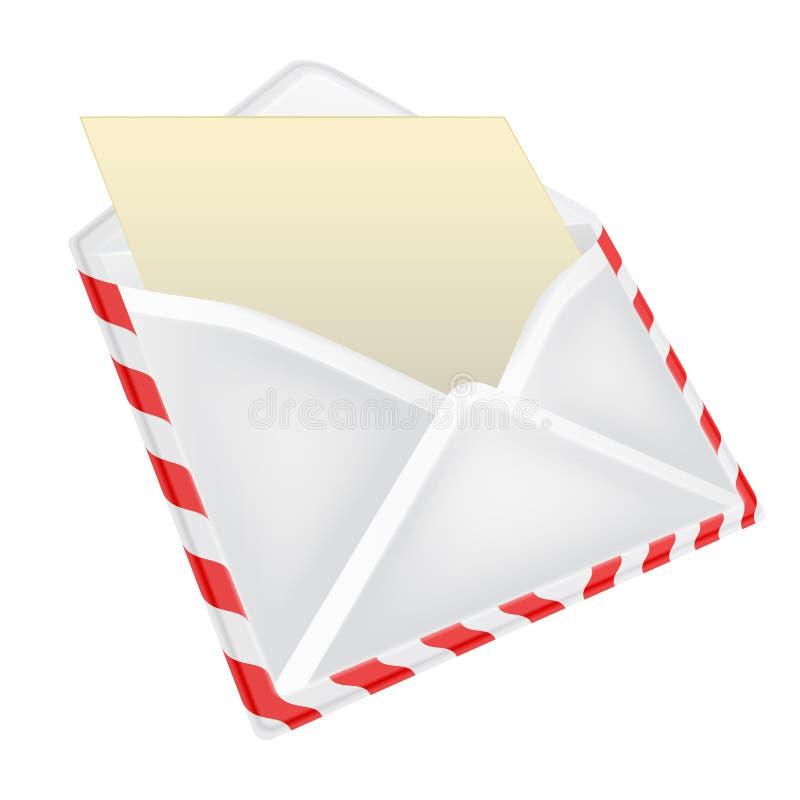 Abra o envelope com opinião de perspectiva do objeto de papel isolado ilustração do vetor