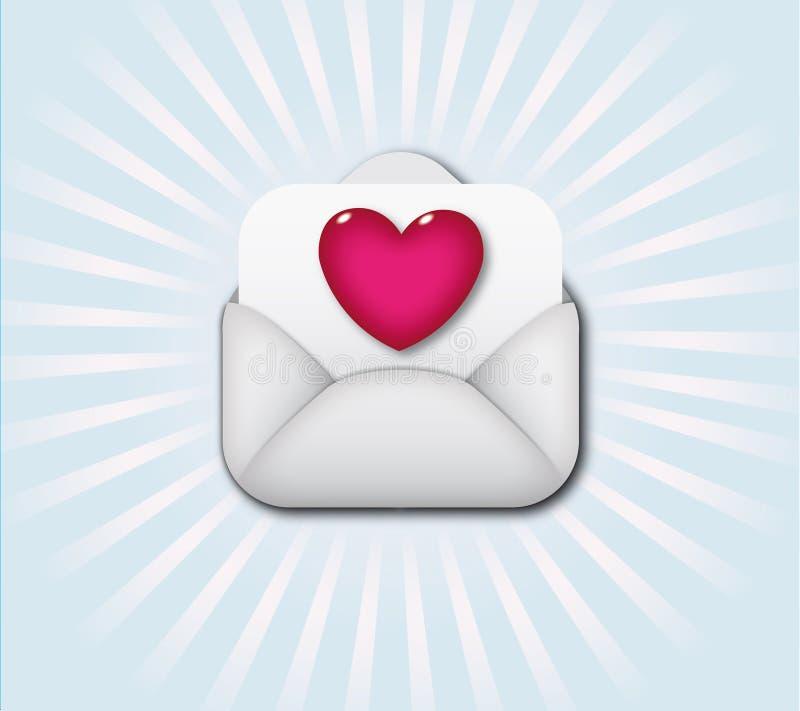 Abra o envelope que contem o símbolo do coração ilustração do vetor