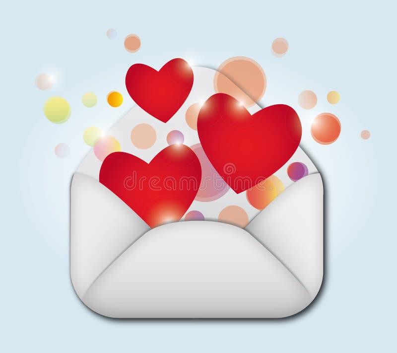 Abra o envelope que contem o símbolo do coração ilustração royalty free