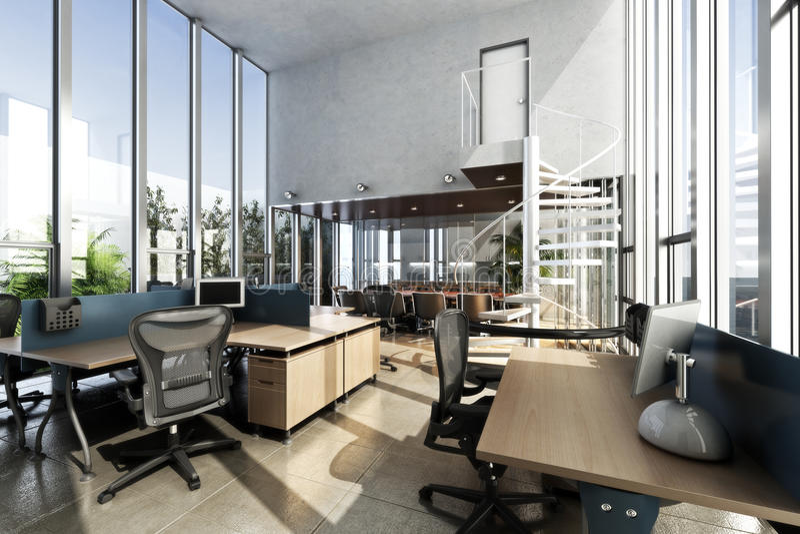 Abra o escritório moderno fornecido interior com as grandes tetos e janelas ilustração stock