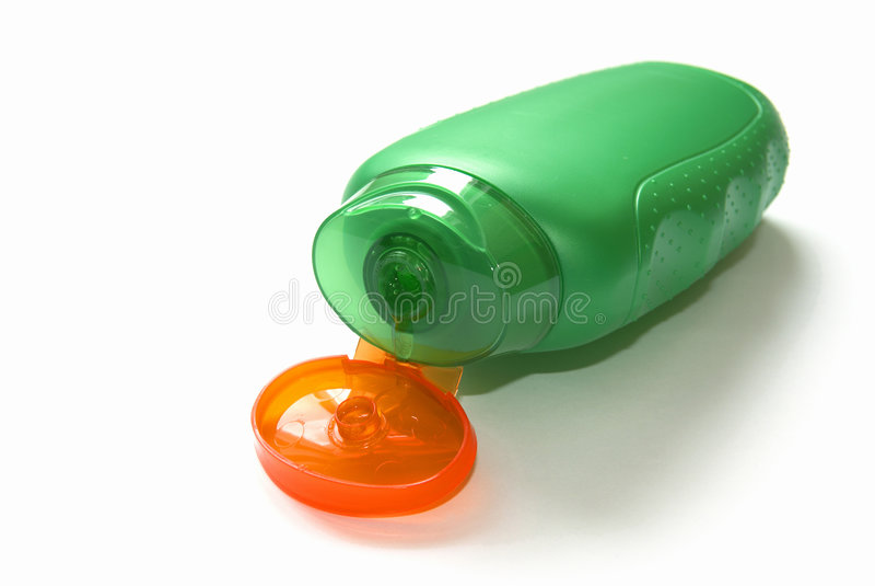 Abra o frasco verde de um gel do chuveiro. imagem de stock royalty free